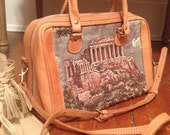 Vintage Leather Handbag with Parthenon Greece Tapestry Fabric