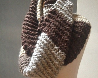 Oversized Knit Colorblock Infinity Scarf
