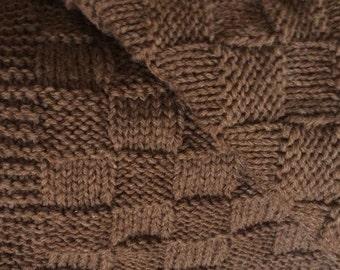 Knit wool throw/baby blanket (dark brown)