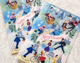Happy New Year Card Set, Christmas Card, Paris Card, Set of 10