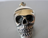 Polished Sterling Silver Skull Pendant Locket 30mm 18mm Steampunk Goth Day Of The Dead