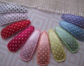 Satin Polka Dots . snap clip set . toddler hair accessory . red hot pink peach yellow mint blue lavender black white