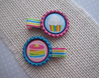 Pancakes & Cupcakes . bottlecap clippies . girls hair accessory . pink blue
