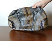 SALE - Vintage 80s Handbag Clutch - Grey and Brown Snakeskin Pattern