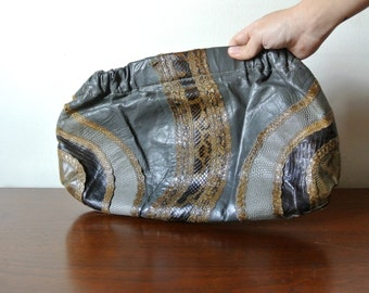 Vintage 80s Handbag Clutch - Grey and Brown Snakeskin Pattern