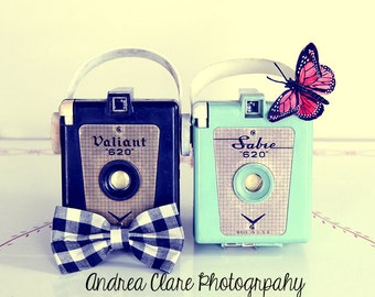 His and Hers, Fine Art Photograph, Photo, Just Married, Couples, Vintage Camera, Cameras, Photographer, Photography, Art, mint, butterfly