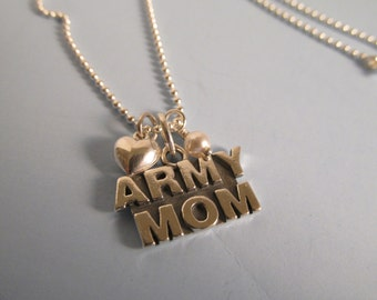 Army Mom Necklace, Swarovski Crystal Army Mom Necklace, Army Mom, Mom Necklace, Birthstone, Sterling Silver, Army, Military, Charm, Pendant
