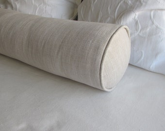IVORY and BEIGE bolster Pillow 8x30
