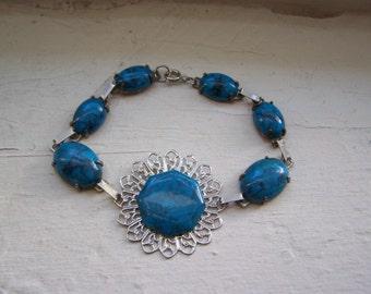 CLEARANCE Silver Faux Turquoise Medallion Bracelet