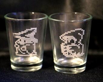 Final Fantasy Sprites -  Laser Engraved Shot Glasses (Ninja, Warrior, Red Mage, Black Mage and White Mage)