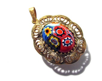 Murano Millefiori Pendant Watch Case VINTAGE Glass Cabochon Small Filigree Gold Watch Case Venetian Glass Watch Making Supplies (D56)