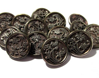 Victorian Buttons Red Tint Flower Antique Buttons Victorian Fourteen (14) Buttons Edwardian Floral Buttons Jewelry Sewing Supplies (F62)