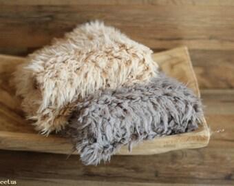 Camel Faux Fur, Gray Faux Fur, Fur Prop, Basket Stuffer, Newborn Prop, Baby Boy Short Pile Faux Fur Piece, Newborn photo prop