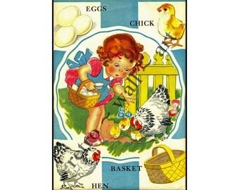 "Children's Art Print, 5"" x 7"", Home Decor, Vintage Inspired Art, 1950's Classis Decor, Kindergarden Art, Vintage Ephemera, Wall Hanging"