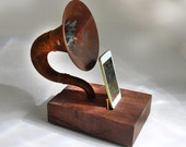 The Horn-A-Phone - iHorn -- Large Rusty  Acoustic  Speaker Upright Horn Dock -- Acoustic Speaker System Docking Station  ,Walnut - Patina
