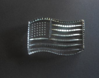 Vintage Astral lead crystal paperweight, waving American flag, perfect
