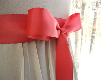 Coral pink wedding sash, bridal sash, bridesmaid sash, bridal belt, 1.5 inch satin ribbon