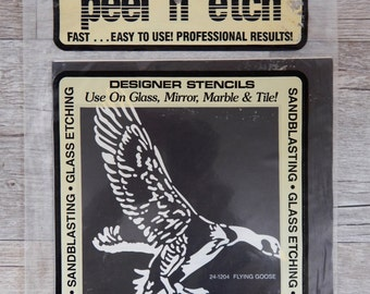 Armour Peel 'N' Etch Designer Stencil Flying Goose Glass Supplies