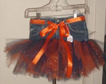 Little Girls Denim Tutu Skirt Size 10