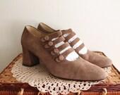 Vintage 1940s Inspired Brown Suede Mary Jane Heels