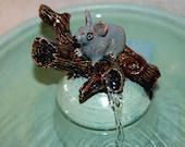"Cat Fountain - Ceramic Pet Fountain -  Indoor Fountain - 12 Inch Diameter - "" Wood Mouse"""