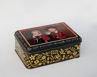 Tin Box, Metal box, Tea Tins, Sewing box, French country kitchen decor.