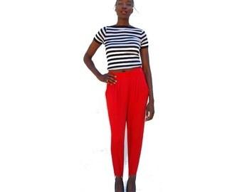 SALE!!!!!!!!! Cherry red high waist stirrup pants 1990s 90s VINTAGE