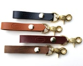Personalized Leather Key Chain, Brass Trigger Clasp Leather Loop Belt Key Chain, Anniversary Gift, Groomsmen Gift, Leather Key Holder