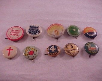 Vintage Pinback Buttons 1930s-1940s