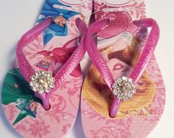 Children's girls kids Havaiana Flip Flops with Swarovski Crystal Flower Finding- All Sizes