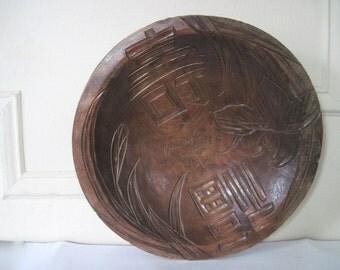 antique, primitive Wooden Doug Bowl - MOTHER - Atlantic City, NJ 1917 - souvenir, vintage, hand carved