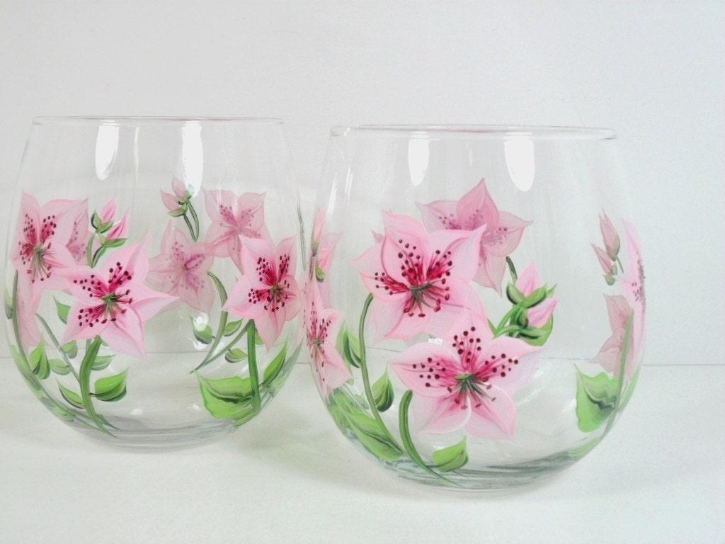 Hand painted stemless wine glasses pink azalea set of 2 for Painted stemless wine glasses