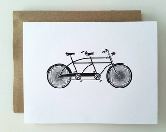 Tandem Bicycle Note Card - A2