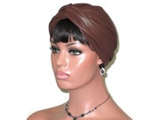 Brown Turban, Leather Turban, Women's Handmade Fashion, Twist Turban, Metallic, Brown Turban Hat, Solid Brown Turban, Brown Turbin, Turbante