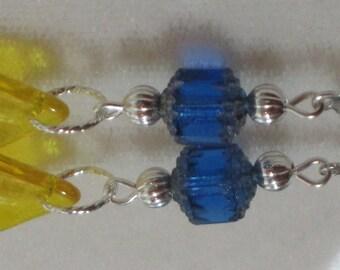 Silver Dangle Earrings Cobalt Blue Yellow Fleur de Lis Silver Jewelry Light Casual Earrings E121