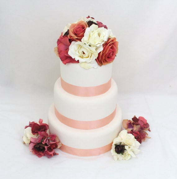 Silk Flower Wedding Cake Toppers: Ivory, Salmon, Coral Hydrangea
