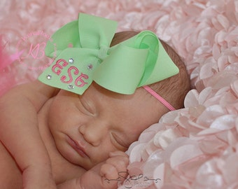 Monogrammed Bow, Newborn Headband, My First Bow, Baby Girl, Baby Shower Gift