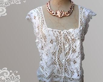 Beautiful Victorian Style Antique Bolillo Lace Cotton Net Blouse .