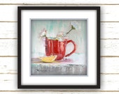 Red Wall Art - Cottage Style - Wall Art - Reproduction from Original Oil Painting - Red Cup with White Flowers - Linen Textured Paper Print
