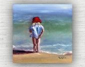Beach Wall Art - Red / Blue  - Beach Art - Ready to Hang Gallery Block Print from Original Oil Painting - Testing the Waters - Girl