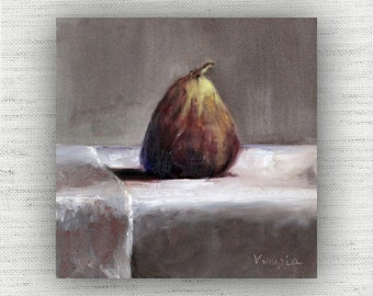 Fig Painting Print of Still Life Oil Painting Home Decor Wall Art - Unique Kitchen Food Room Decor, Rustic Dining Room Art Print, Brown