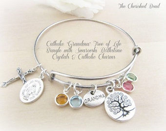 Catholic Tree of Life Grandma Bangle with Birthstone Crystals and Catholic Charms