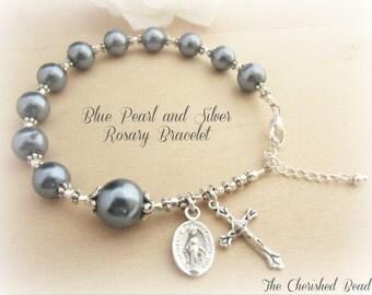 Beautiful Blue Pearl & Silver Rosary Bracelet