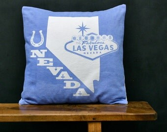 Nevada Accent Pillow - Decorative Cotton Denim State Pillow - Nevada Home Accessory