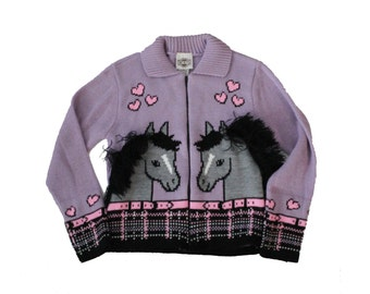 Vintage 80s Horse and Heart Purple Cardigan Sweater - Rod's 10 12 - Childrens, Girls, Made in America