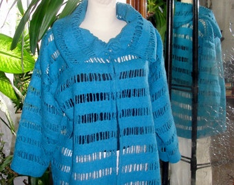 Felted jacket, sweater, cardigan, turquoise tunic , jemper, felted lace,  long sleeves.tunic openvork