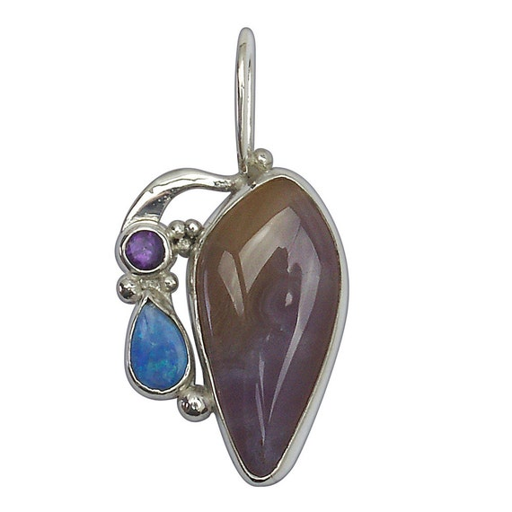 Lavender Lace Agate, Precious Opal, Amethyst and Sterling Silver Three Stone Pendant, plvlj2519