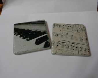 Coasters of Piano Keys and Sheet Music