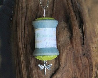 Dragonfly Charm Wooden Spool Pendant Necklace