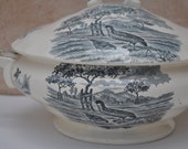 French Country Ironstone Soup Tureen Blue and White Transferware